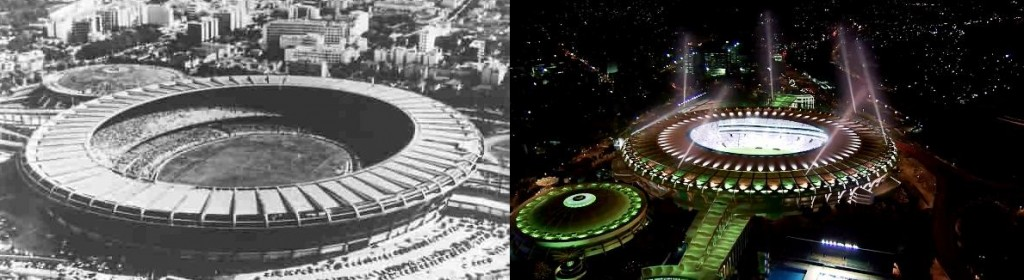 On one side the Maracana 1950, the other the 2014.