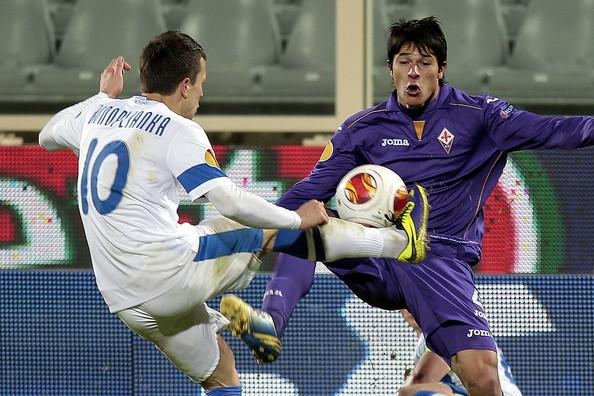 El ucraniano en el partido frente a la Fiorentina en la Europa League de esta temporada.