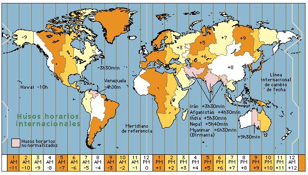 Los distintos husos horarios del mundo.