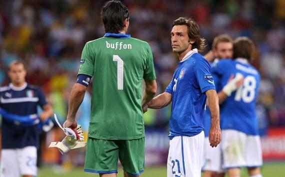 Buffon y Pirlo se despidieron de los Mundiales en Brasil 2014.
