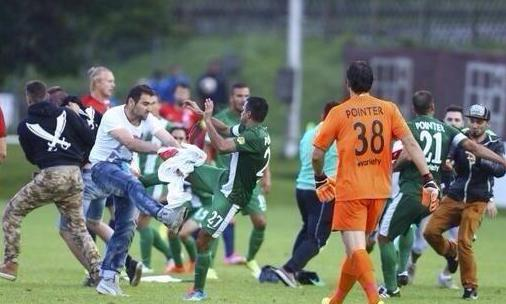 Palestinian fans attacked players Maccabi Haifa.