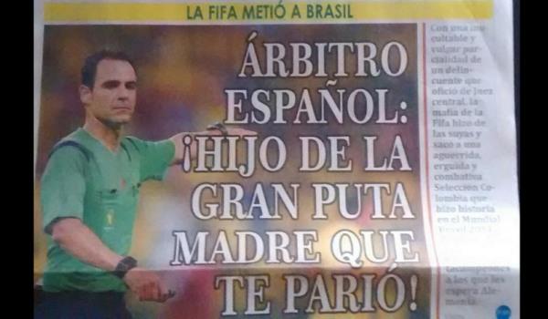 Velasco Carballo no estuvo afortunado aunque quizás este diario colombiano debería tener algo más de educación.
