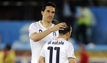 Luca Toni and Di Natale in the shirt of Italy.