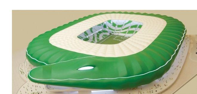 La cubierta en forma de cocodrilo, una idea muy original para un estadio.