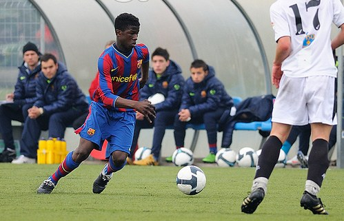 Keita with the Barcelona shirt in his lower categories.