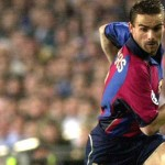 Loose pass by Marc Overmars Barcelona