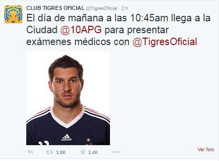La cuenta de Tigres también anunciaba el fichaje de Gignac . Foto: @TigresOficial