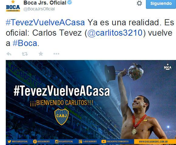 Con este Tweet, Boca anunciaba la vuelta de su crack. Foto: Twitter.com