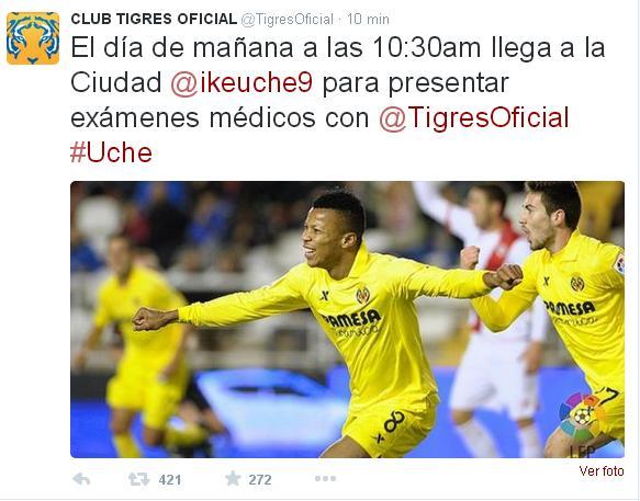 La cuenta oficial de Tigres en Twitter anunciaba así el fichaje de Uche.
