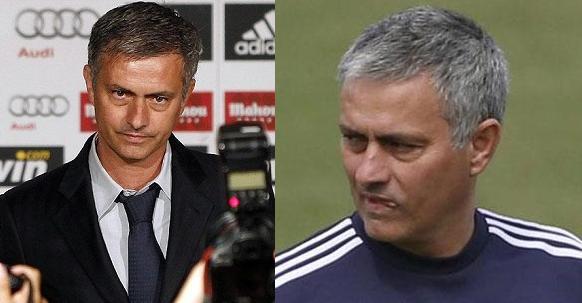 A la izquierda Mou en 2010 a su llegada al Real Madrid. A la derecha en su última etapa en el Madrid, 2013. Se puede ver el desgaste en sólo 3 años.