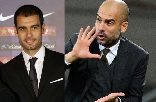A la izquierda Guardiola en 2008 a su llegada al Barcelona. A la derecha en 2012, sólo 4 años después. De 38 a 42 años.