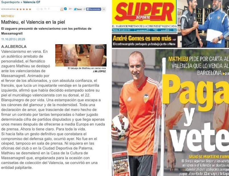 Mathieu de Valencia passion despised. Photo: Superdeporte covers