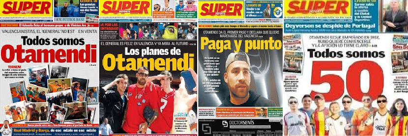 Otamendi has gone from being the general to be disowned. Photos: Superdeporte
