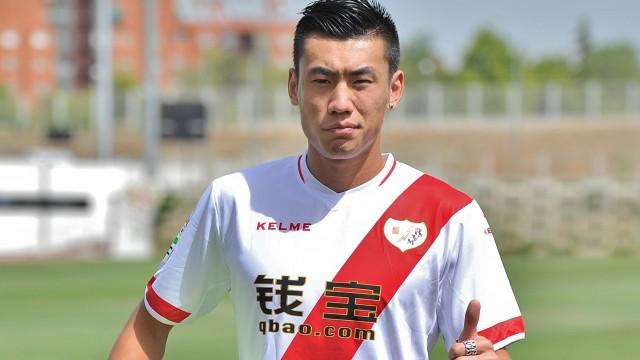 Zhang Chengdong con la camiseta del Rayo.