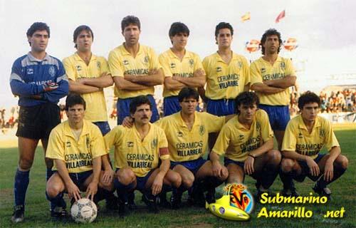Así era una formación del Villarreal a principios de los 90. Foto: Submarinoamarillo.net
