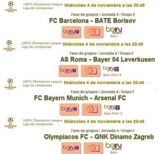 Horario Champions miércoles 1
