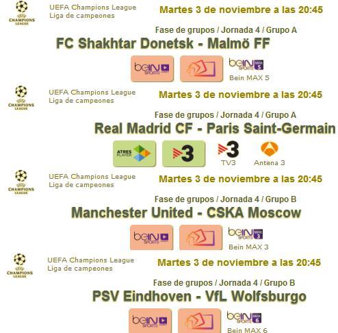 jornada del martes champions 2