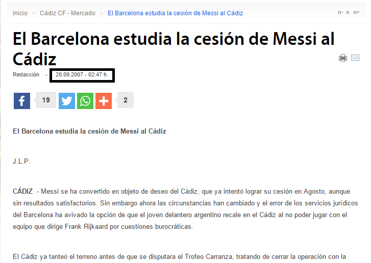 ¿Se lo imaginan? Pues Messi estuvo cerca de ir al Cádiz hace unos cuantos años.