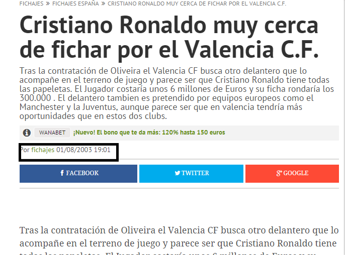 Pues si, Paco Roig llegó a decir que tenía atado a CR7 por aquella época sólo Cristiano Ronaldo, hace más de una década.
