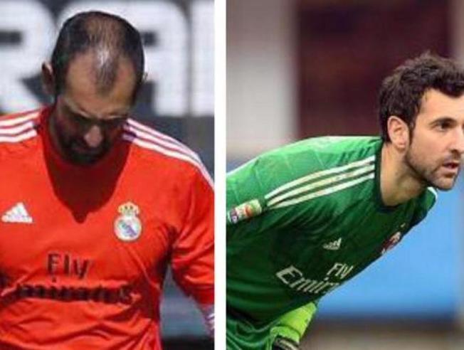 Diego López con pelo y sin él.