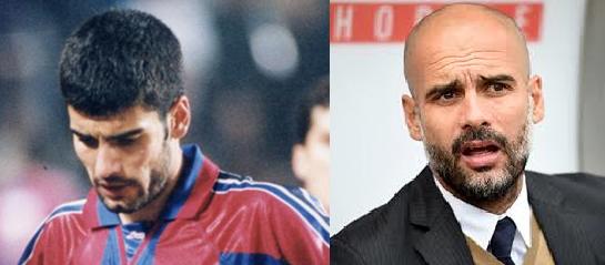Guardiola lucía una frondosa cabellera como jugador. Nada hacía indicar que se quedaría calvo con los años.