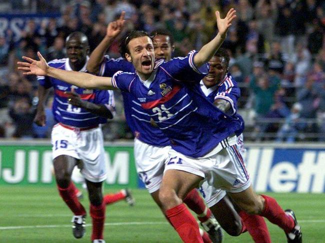 Dugarry celebrating a goal in France 98.