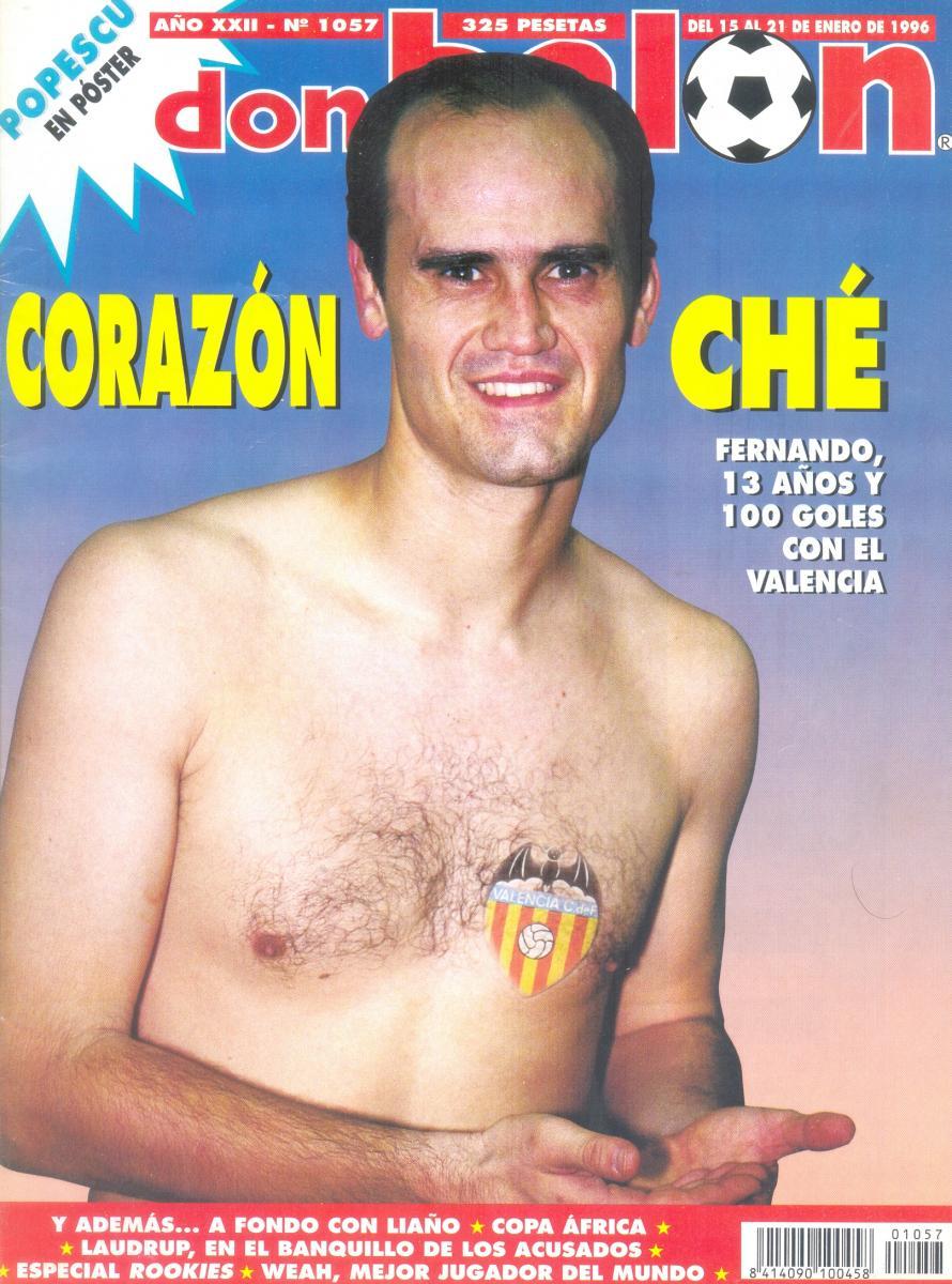 Fernando Gómez posando para la antigua revista Don Balón. Los futbolistas eran otra cosa antes.
