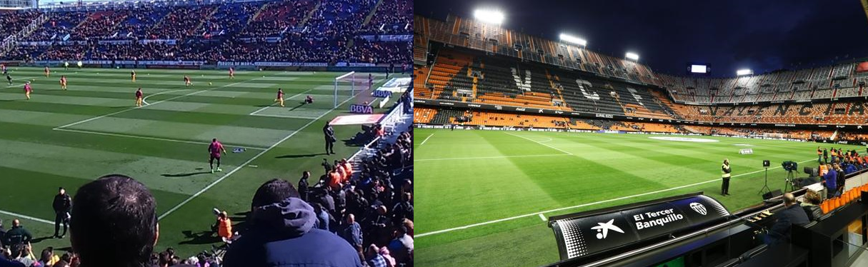 Ciutat de Valencia and the Mestalla with almost 3 km away, are the two closest stages of Spain. They are followed by the Villamarin and the Sanchez Pizjuan.