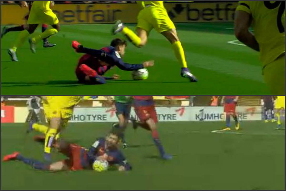 This hand Piqué Villarreal card ran out with nothing. It was his second.