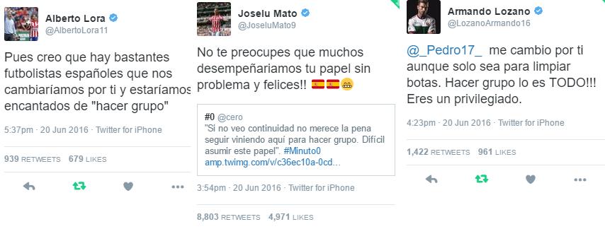 Varios jugadores le dejaron recaditos a Pedro por las redes sociales. Fotos: Twitter.com