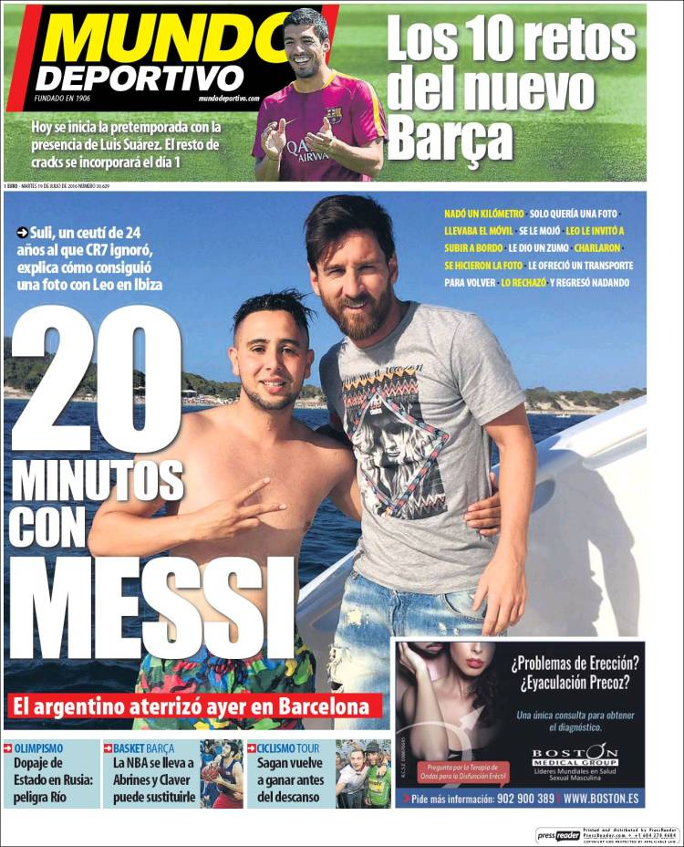 The colleague who swam to the yacht Messi took his prize and as, He deserved a cover like Mundo Deportivo. News certainly essential.