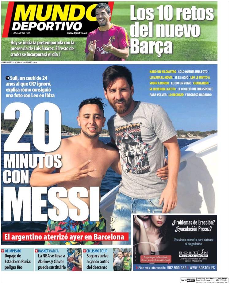 Der Kollege, der an der Yacht schwamm nahm Messi seinen Preis und als, Er verdiente eine Abdeckung wie Mundo Deportivo. Nachrichten sicherlich wesentlich.