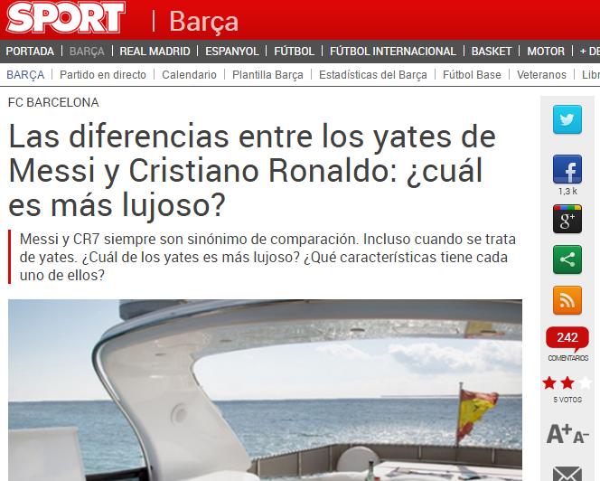 Yachts Cristiano und Messi der wichtigsten Nachrichten des Sommers für einige Medien. Foto: Sport