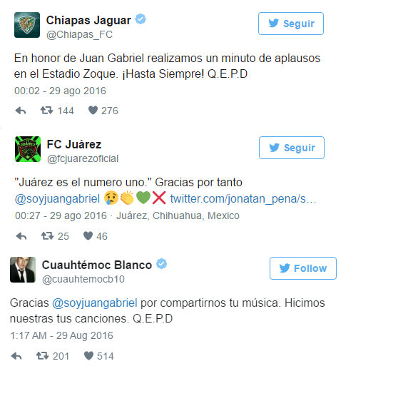 Mexican soccer reacts to death Juan Gabriel