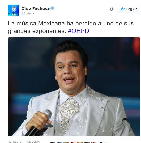 pachuca mourns death of Juan Gabriel