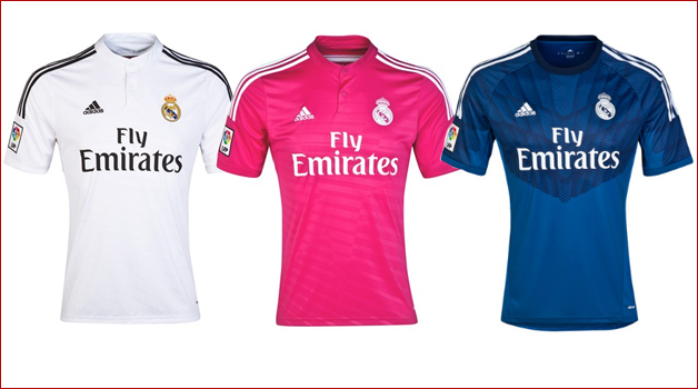 The 3 Real Madrid jerseys for the season 2014/15 were they.