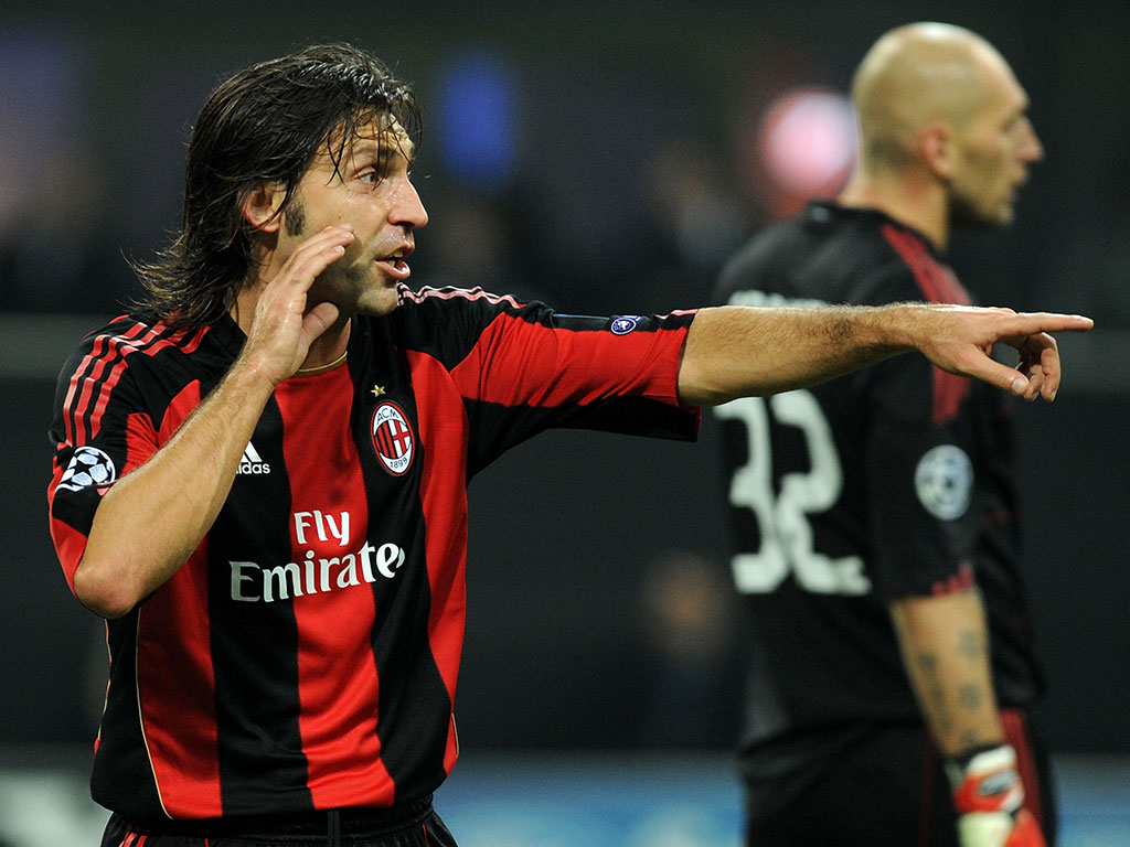 Andrea Pirlo at its stage as milanista. Source: football.fanpiece.com