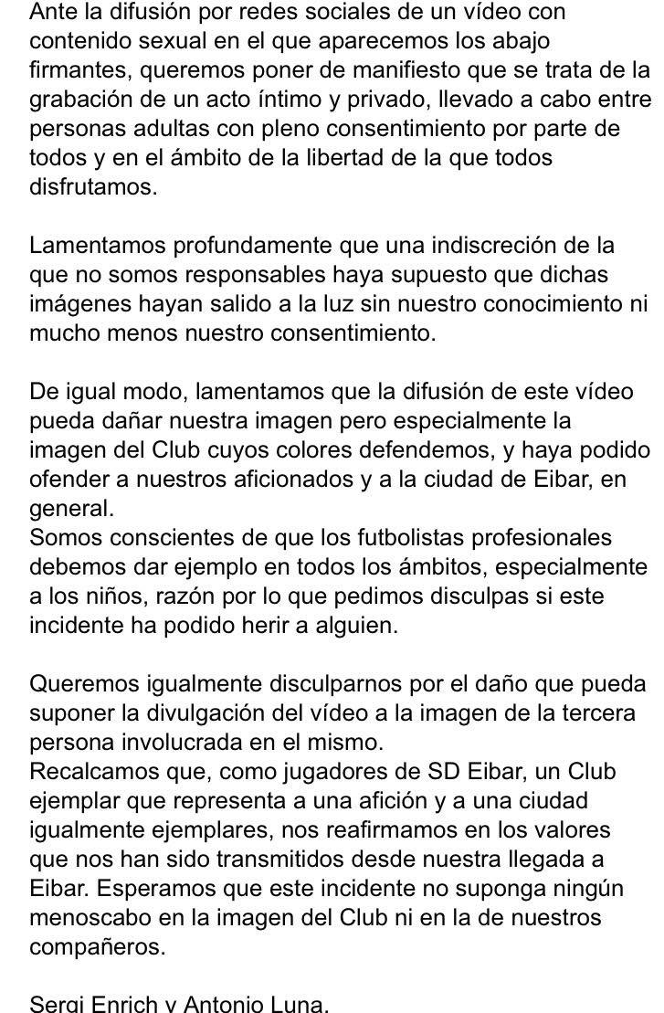 Esta es la carta que ambos jugadores han sacado a la luz tras ser filtrado su vídeo de su fiesta sexual.