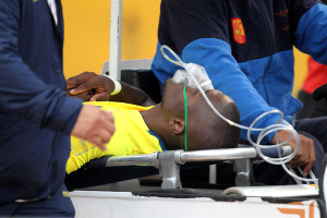 Enner Valencia pulled oxygen mask and all to escape the police at the Atahualpa Olympic Stadium.