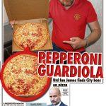Aficionado del United se encuentra la cara de Guardiola en una pizza