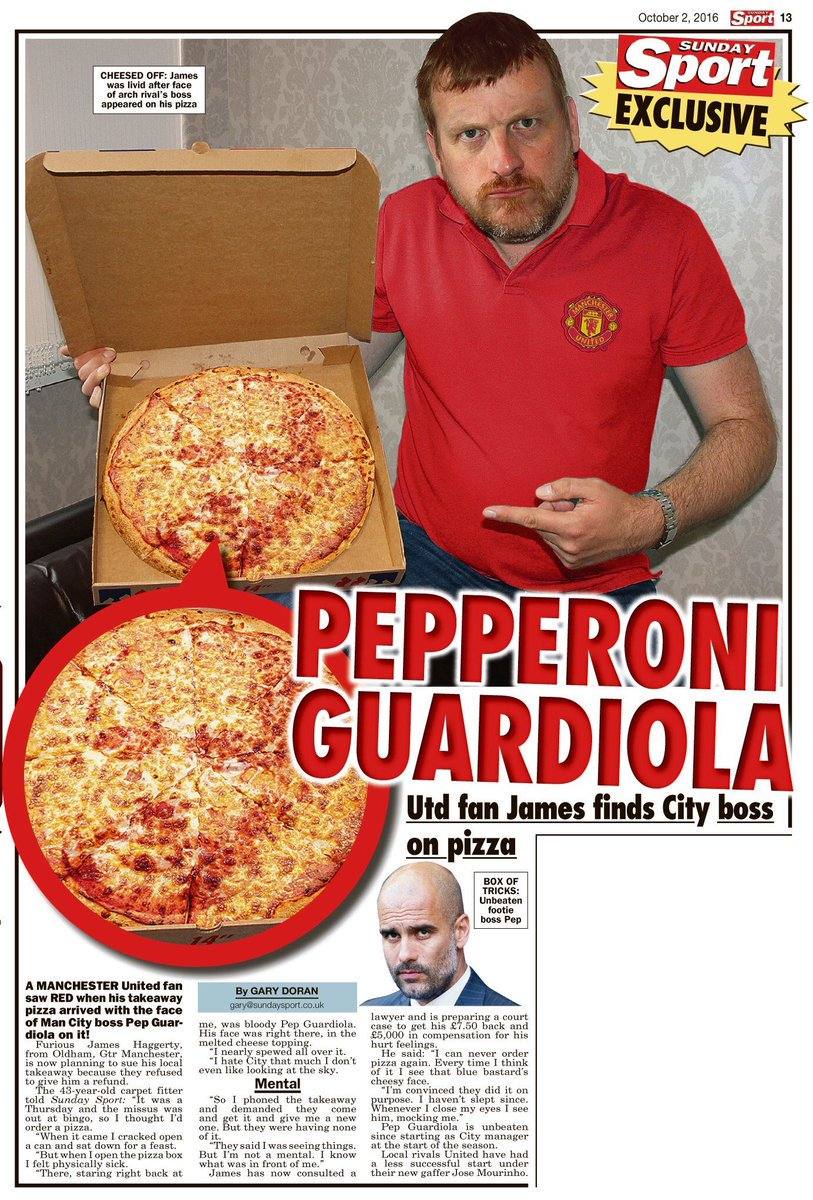 United fan of Guardiola's face is in a pizza