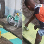 Painting the streets for the World 2014 a striker of Brazil in Russia 2018