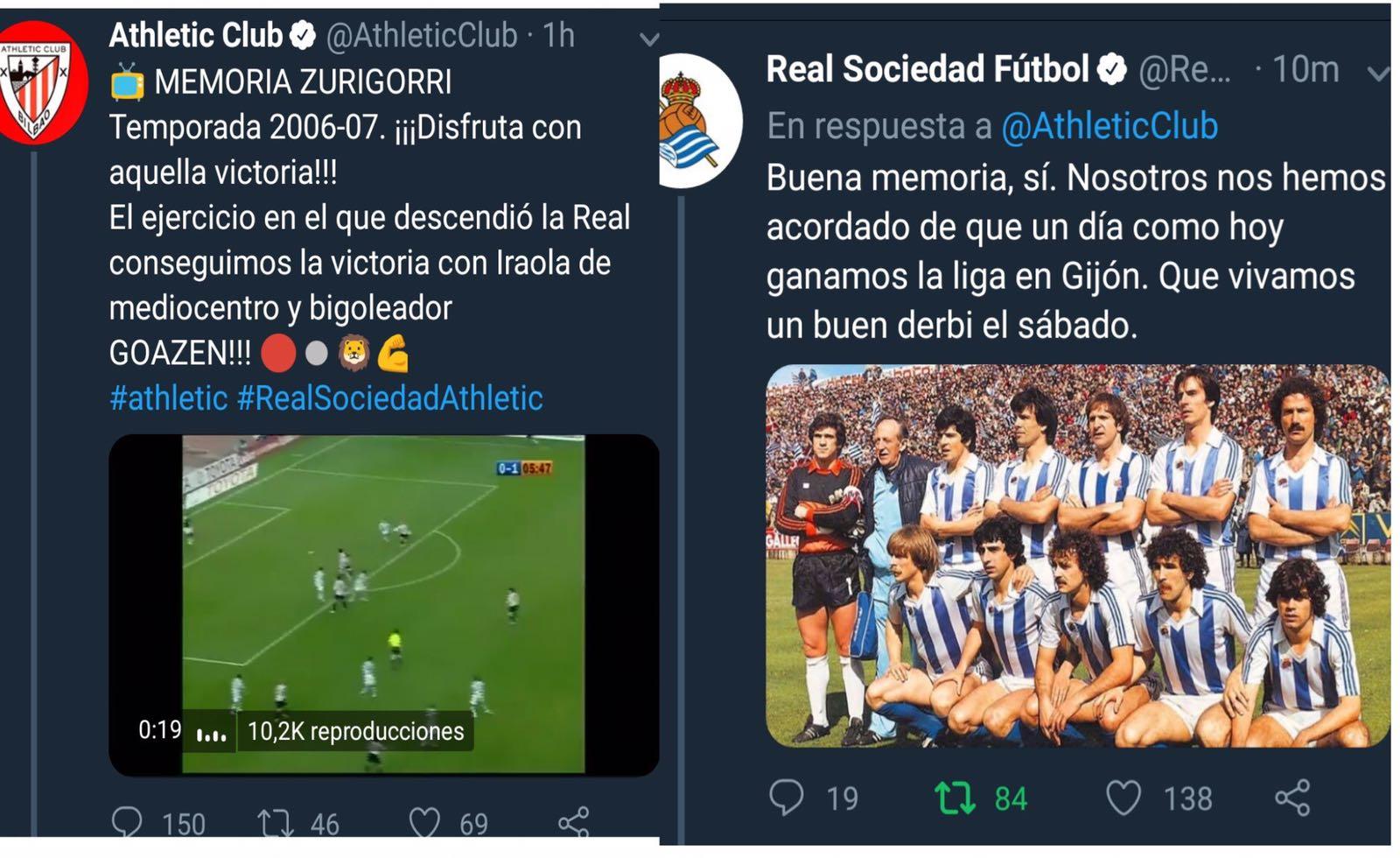 Athletic Club y Real Sociedad 'se pican' en sus cuentas oficiales de Twitter
