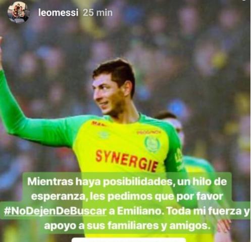 Leo Messi pide que no se suspenda la búsqueda de Emiliano Sala