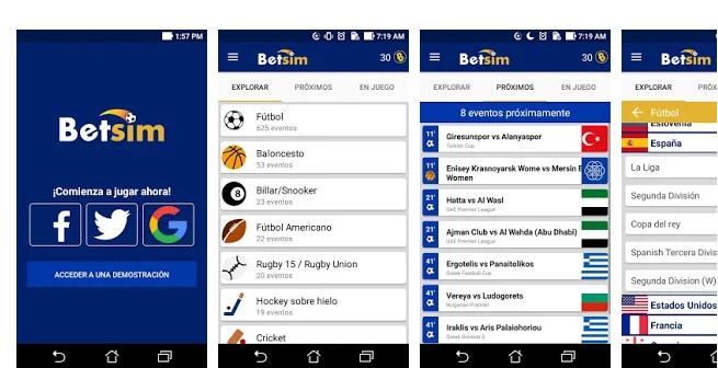 Betsim, an app to simulate sports betting