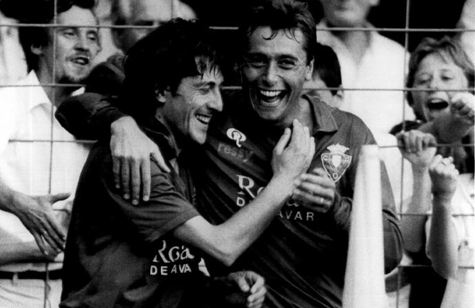 Michael Robinson and Enrique Martin at Osasuna