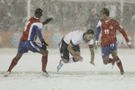 United States beats Costa Rica in a soccer match-snow